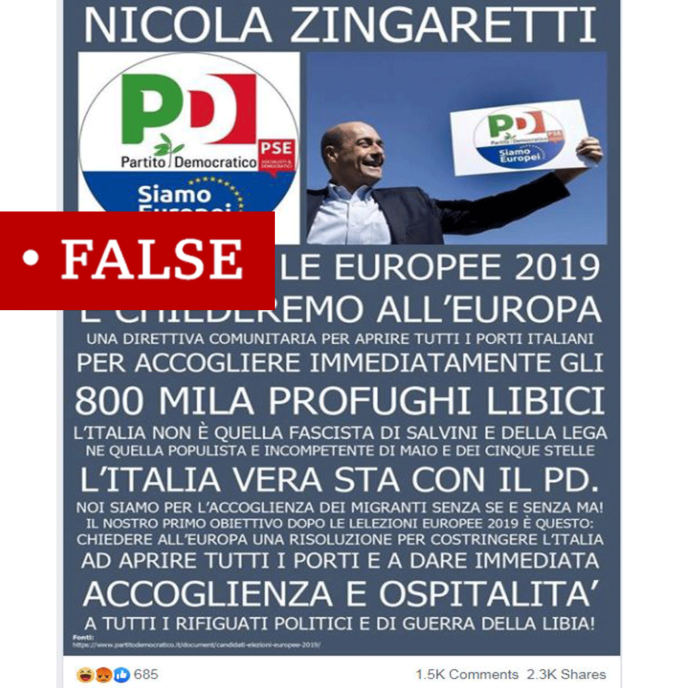 "Screenshot of the fake Nicola Zingaretti quote from Facebook labelled ""false"""
