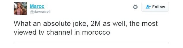 Twitter user Maroc writes: What an absolute joke, 2M as well, the most viewed TV channel in Morocco.""