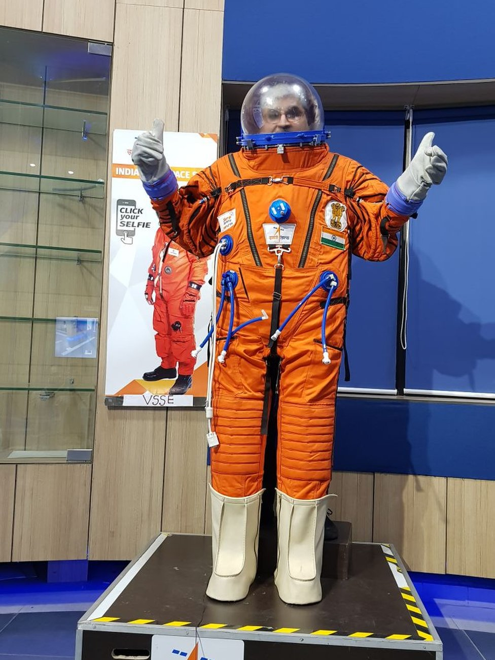 A prototype Indian-made space suit is displayed on 14 August 2018 at the Space Applications Center in Ahmedabad.