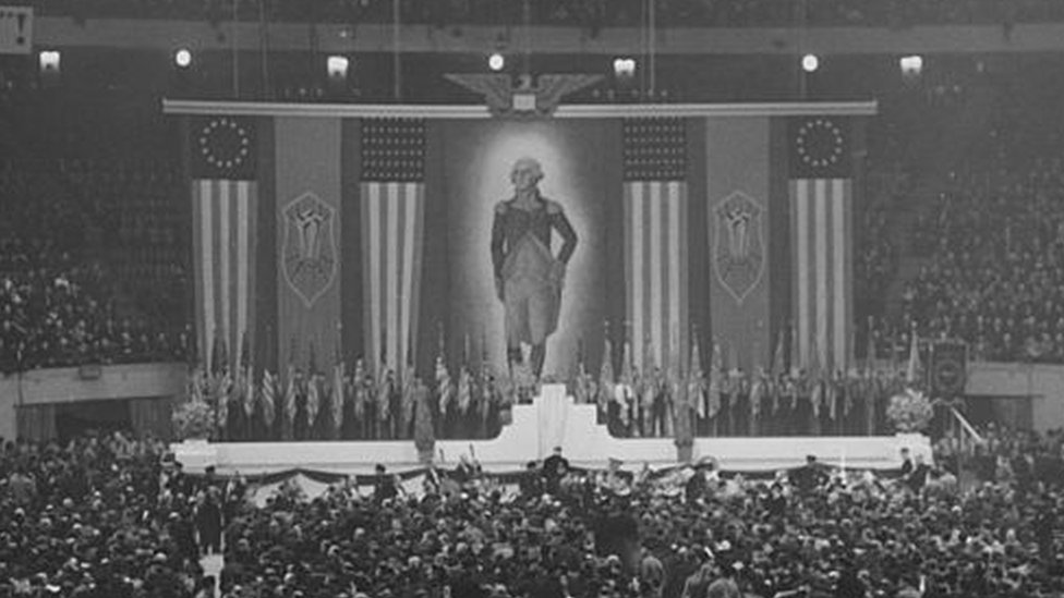 A meeting of the German American Bund held at Madison Square Garden in 1939