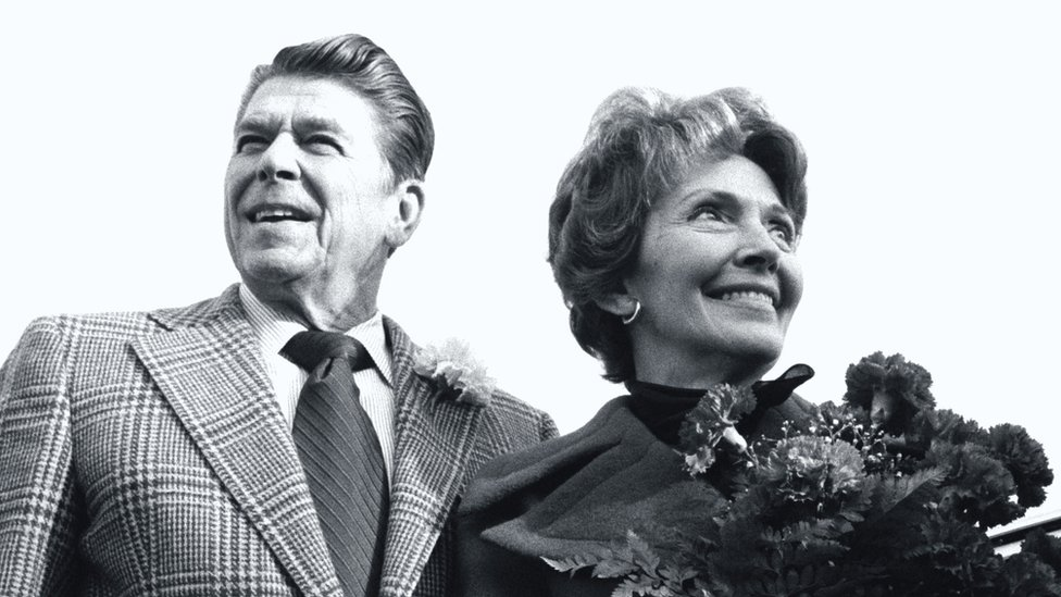 Ronald Reagan and his wife Nancy on the campaign trail in Florida in 1976
