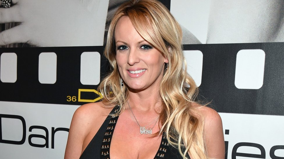 Stormy Daniels poses at a 2017 adult entertainment convention.