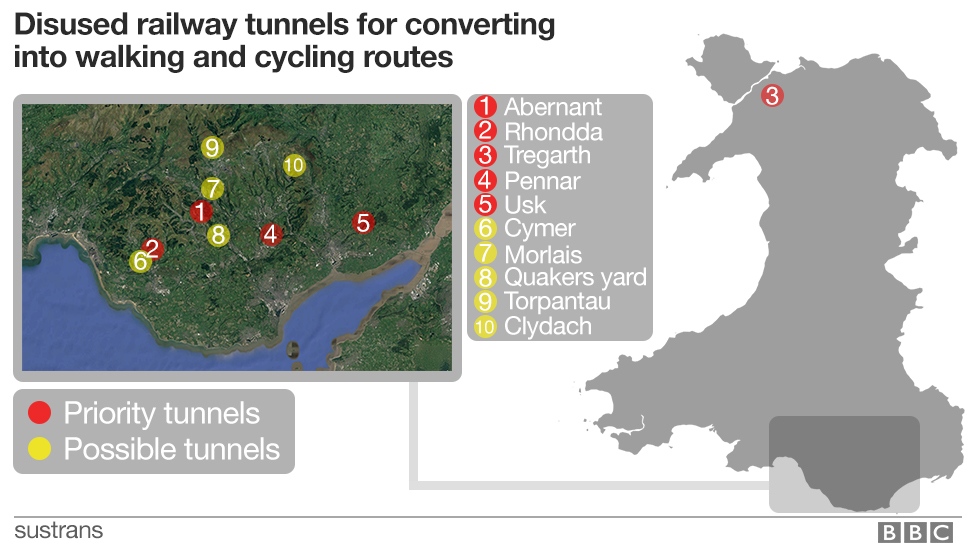 Map of disused railway tunnels in Wales