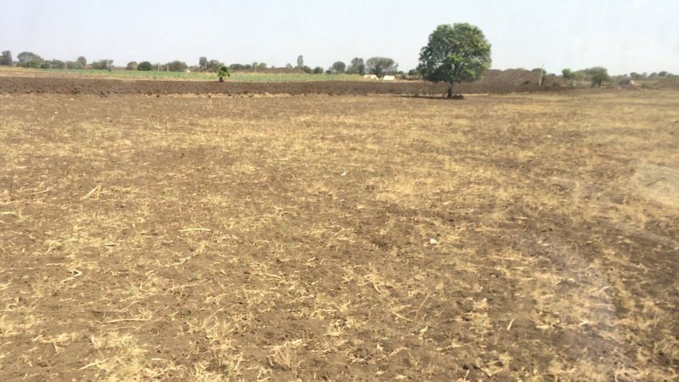 After three years of drought, arid farmland in Latur, India.