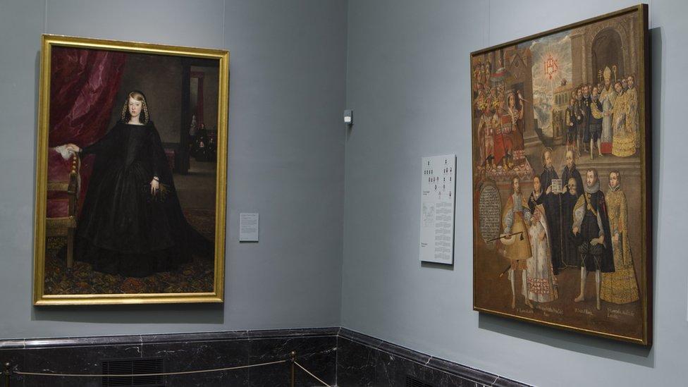 """El cuadro de los """"Matrimonios..."""" en el Museo del Prado, en Madrid."""