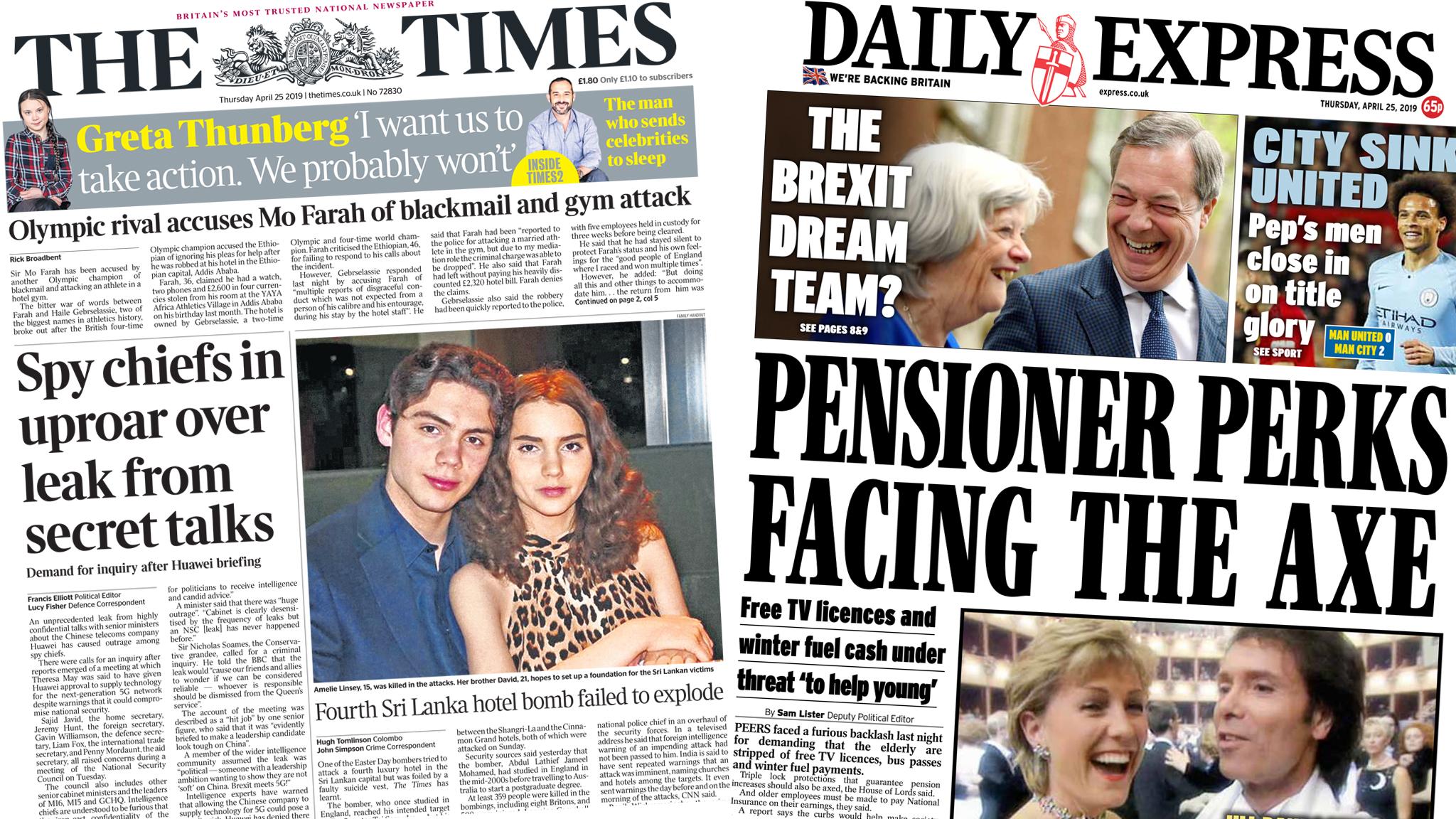 Newspaper headlines: Scrap 'pensioner perks' and secret talks leak