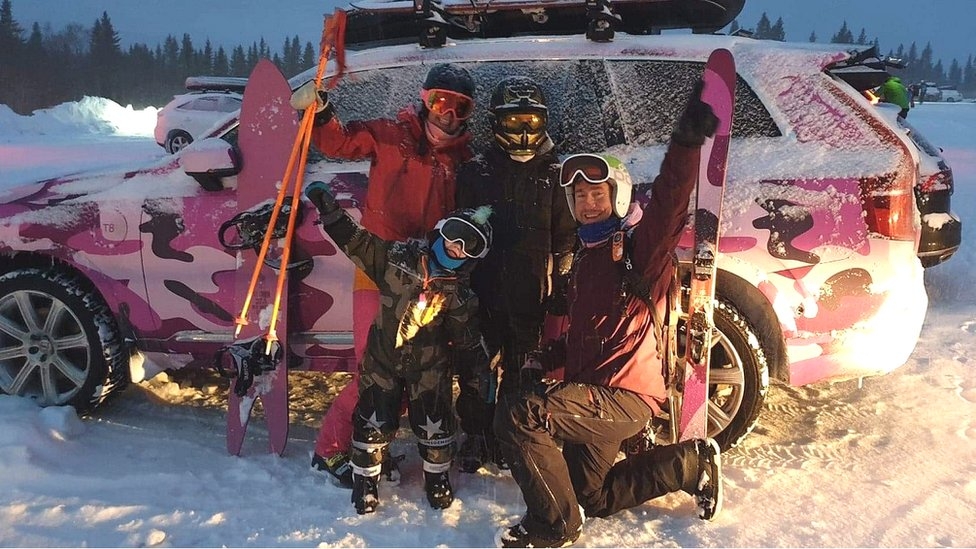 Image shows the Boson family on a skiing trip