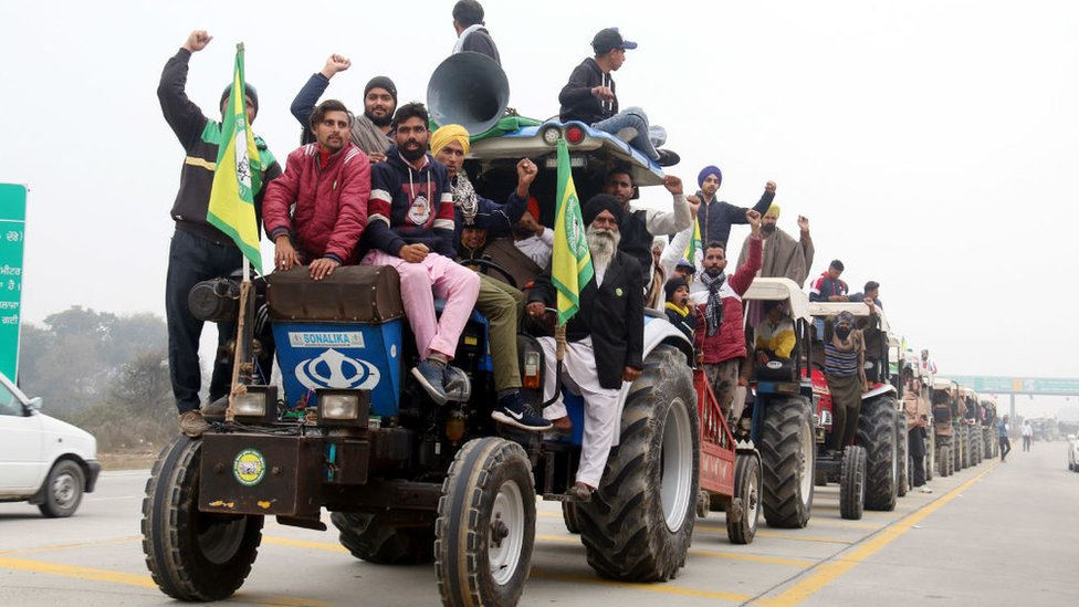 A row of tractors during a rehearsal by farmers ahead of the proposed tractor rally on Republic Day, at Lehra Bega toll plaza, on January 24, 2021 in Bathinda, India.