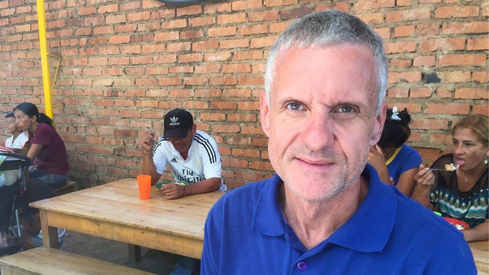 Carlos Alberto Ledesma at the soup kitchen in Cúcuta