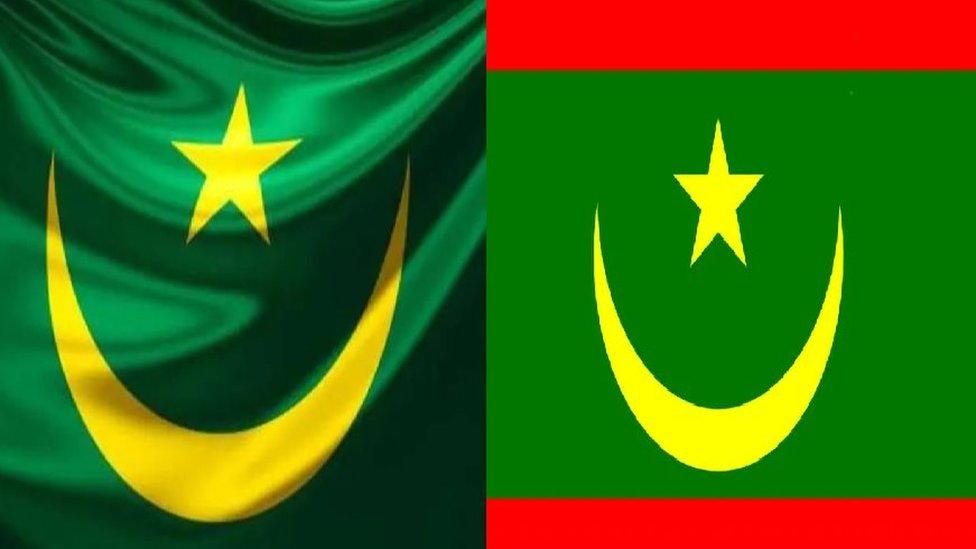 علم الجمهورية الموريتانية حاليا (يمين) وعلمها القديم (يسار).