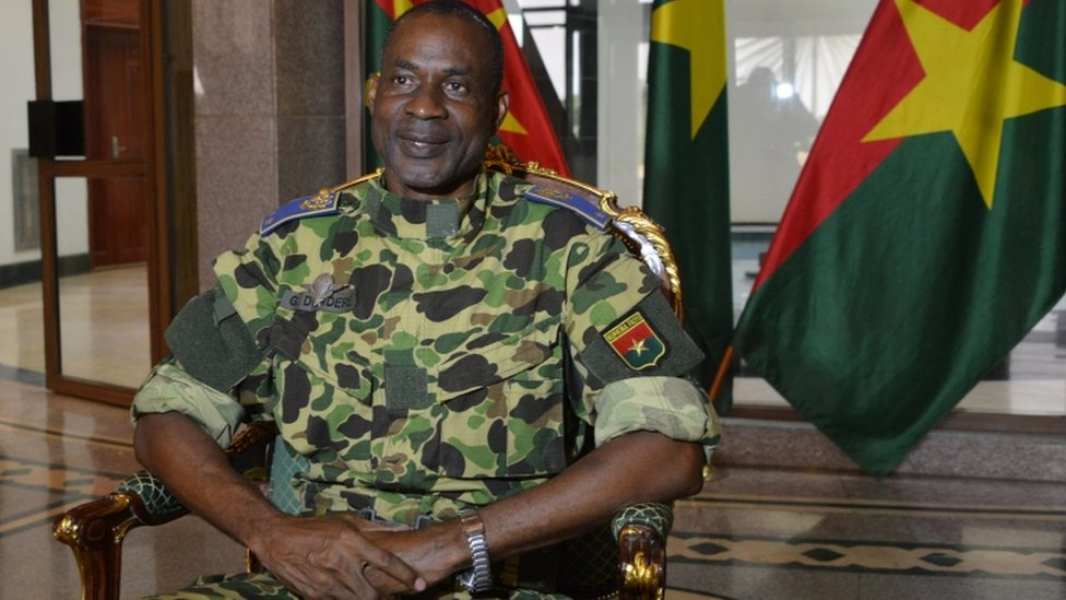 General Gilbert Diendere sits at the presidential palace in Ouagadougou, on September 17, 2015