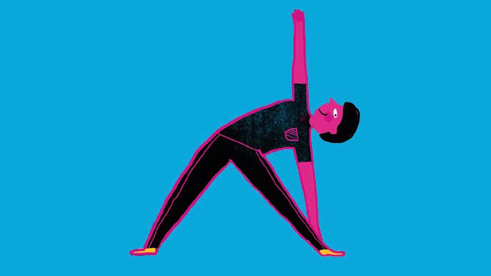 Ilustración de un joven haciendo ejercicio.