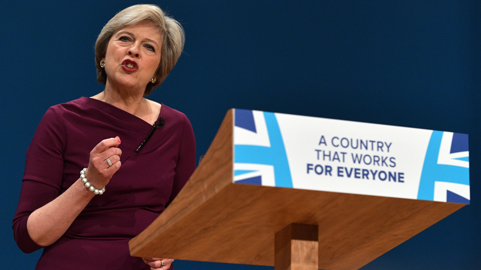 Theresa May speaking at the 2016 Conservative Party conference