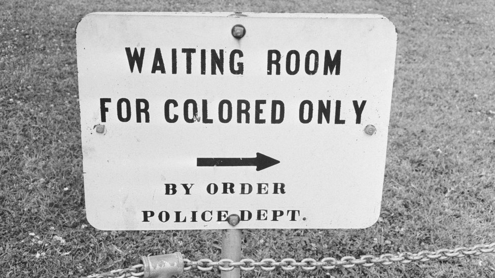A sign in Jackson, Mississippi which reads 'Waiting Room For Colored Only by order Police Dept.'