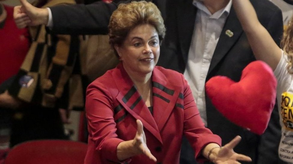 Brazilian suspended President Dilma Rousseff gestures during a rally in Sao Paulo, Brazil on August 23, 2016.
