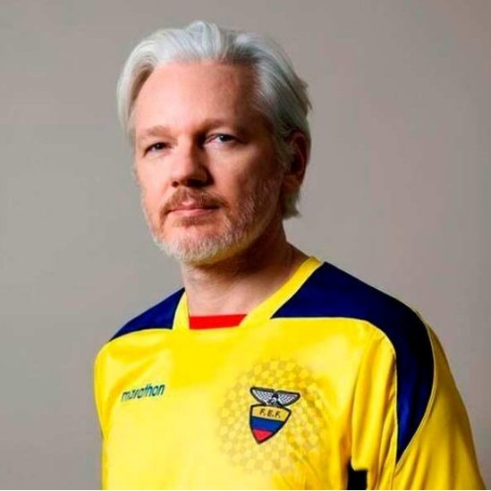 Julian Assange poses for a photo in an undisclosed location, in this undated picture obtained from social media.