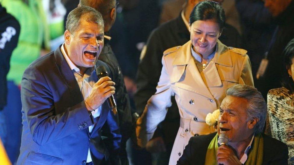 Ecuadorean presidential candidate Lenin Moreno (R) celebrates alongside Ecuadorean President Rafael Correa during a national election day at a hotel in Quito, Ecuador April 2, 2017