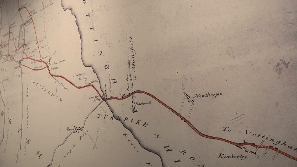 Map of the Pentrich march