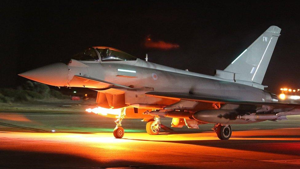 A RAF Typhoon leaves RAF Akrotiri on a sortie as part of Operation Shader on December 4, 2015 in Akrotiri, Cyprus