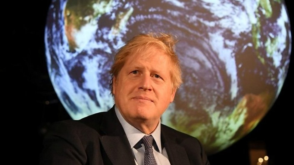 Boris Johnson at a launch event for the COP26 climate summit which is to be held in Glasgow later this year.
