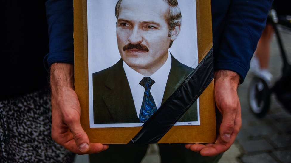 Image shows picture of Alexander Lukashenko