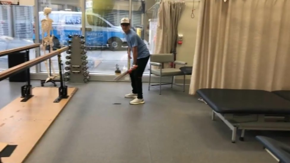 Car crash cricketer Billy Cookson plays first shots