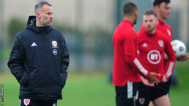 Wales manager Ryan Giggs at training