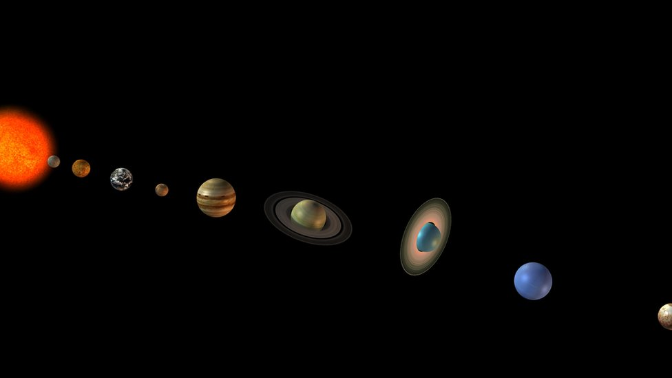 Computer artwork of the Sun (left) and the eight planets of the solar system and the dwarf planet Pluto (far right).