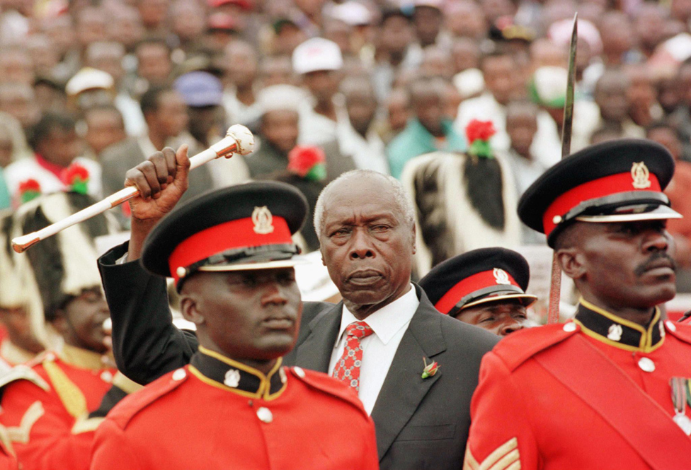 President Daniel arap Moi greets his supporters after he was sworn in for final five-year term in Nairobi in 1998