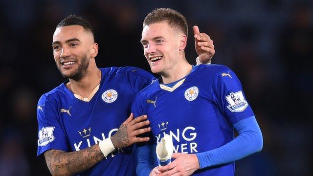 Leicester City's Danny Simpson congratulates Jamie Vardy