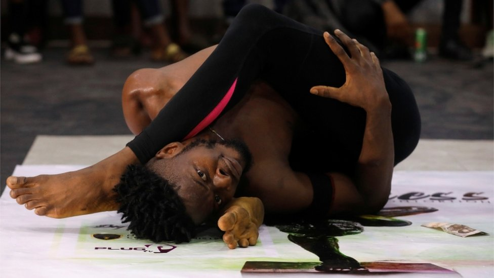 Oyindamola Kolawole, 26, performs contortion at a show called Limberness in Lagos, Nigeria, on 1 February 2020