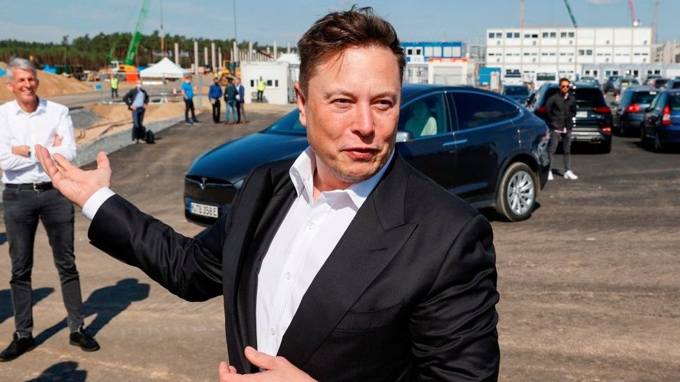 Tesla's Elon Musk visits the construction site of the future factory in Germany.