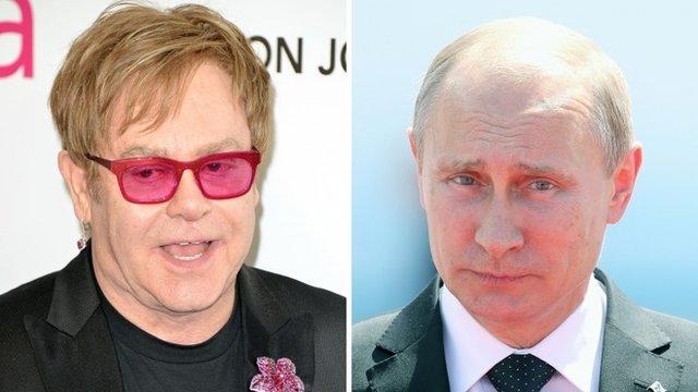 Sir Elton John and Vladimir Putin