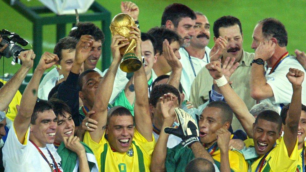 Celebración de la selección brasileña al ganar la Copa del Mundo.