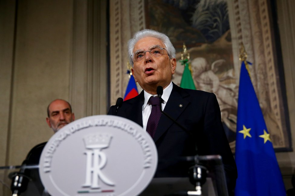 Italian President Sergio Mattarella speaks to media after a meeting with Giuseppe Conte at the Quirinal Palace in Rome, Italy, 27 May 2018