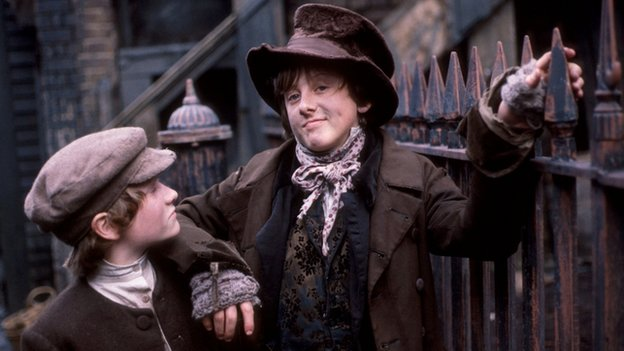 Ben Rodska as Oliver Twist and David Garlick as the Artful Dodger in the BBC adaptation of the novel by Charles Dickens
