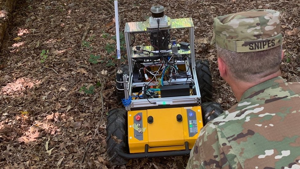 US Army autonomous vehicle being trained