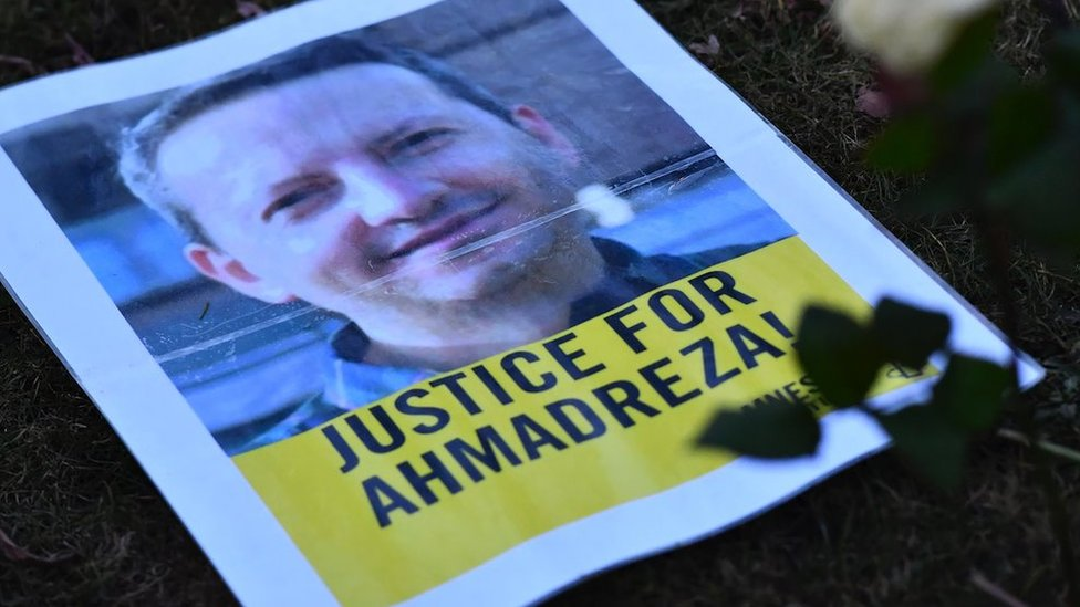 A photo shows a flyer during a protest outside the Iranian embassy in Brussels for Ahmadreza Djalali, 13 February 2017