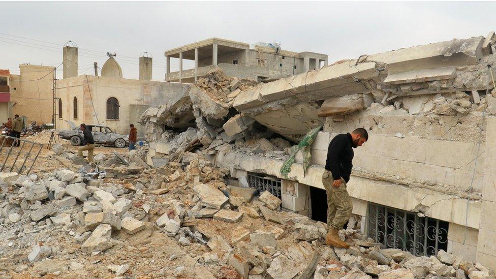 Site of attack in Jineh village, Aleppo province