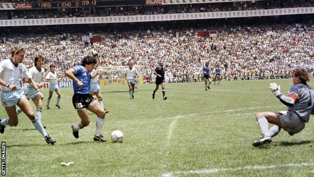 Diego Maradona's second goal against England at the 1986 World Cup