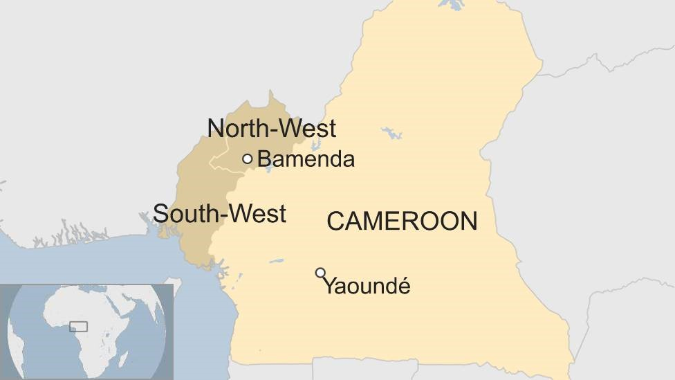 Map of Cameroon, showing English-speaking regions