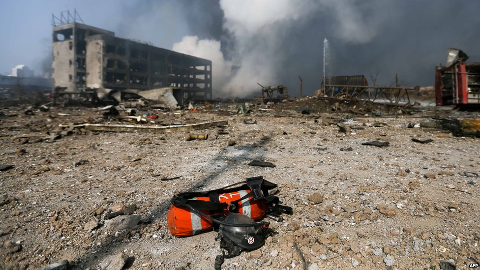 A fire extinguisher at the scene of two explosions in Tianjin