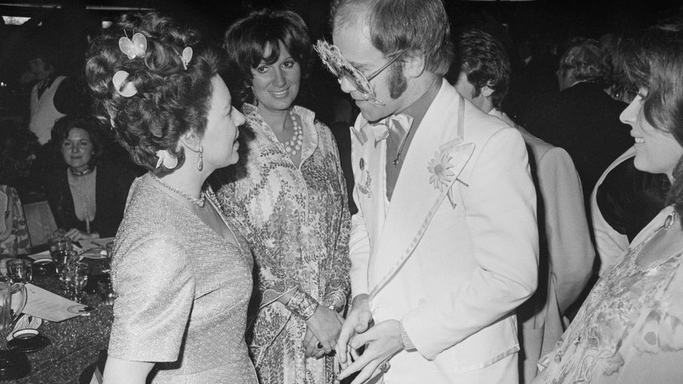 Princess Margaret and Elton John in 1974