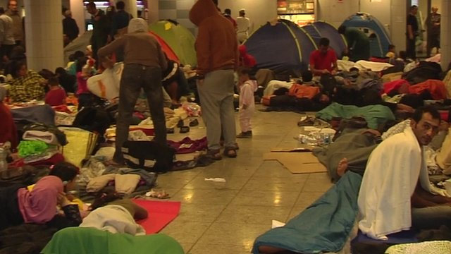 Migrants at Budapest's Keleti station camping out