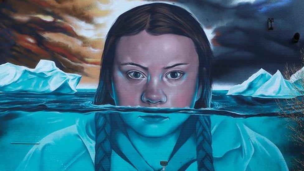 Greta Thunberg mural on a wall in Bristol