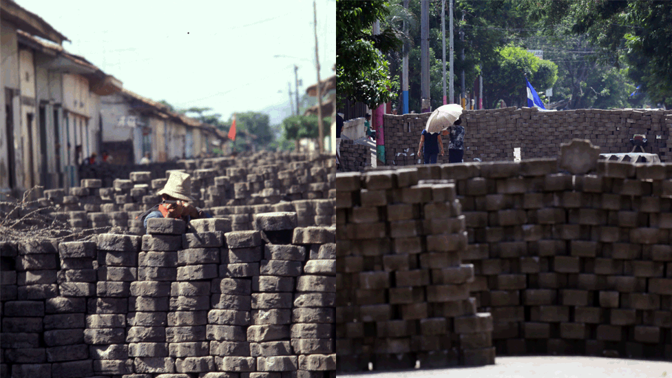 A man crouches behind a barricade and points a rifle in 1979/ Local residents walk between barricades in Masaya, some 35km from Managua on June 20, 2018.