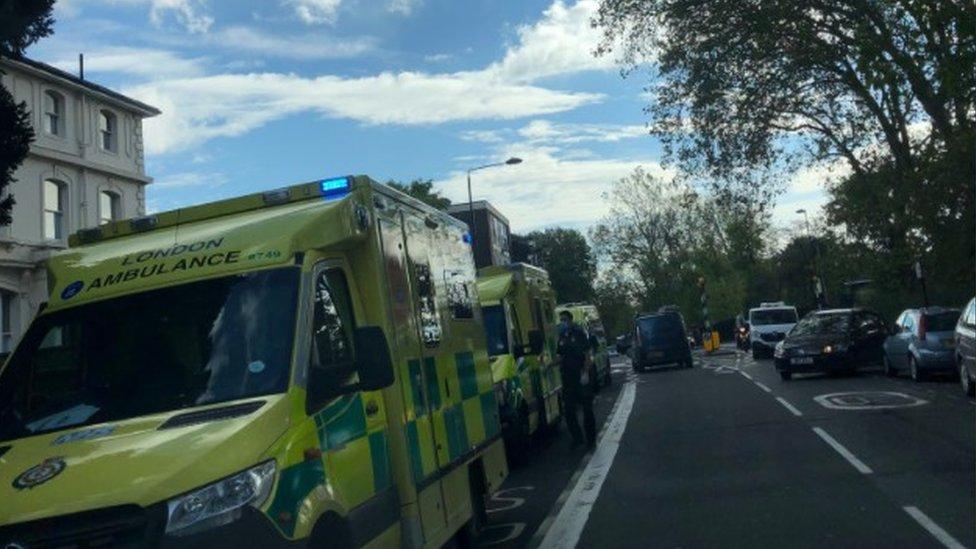 Ambulances outside La Sainte Union Catholic School