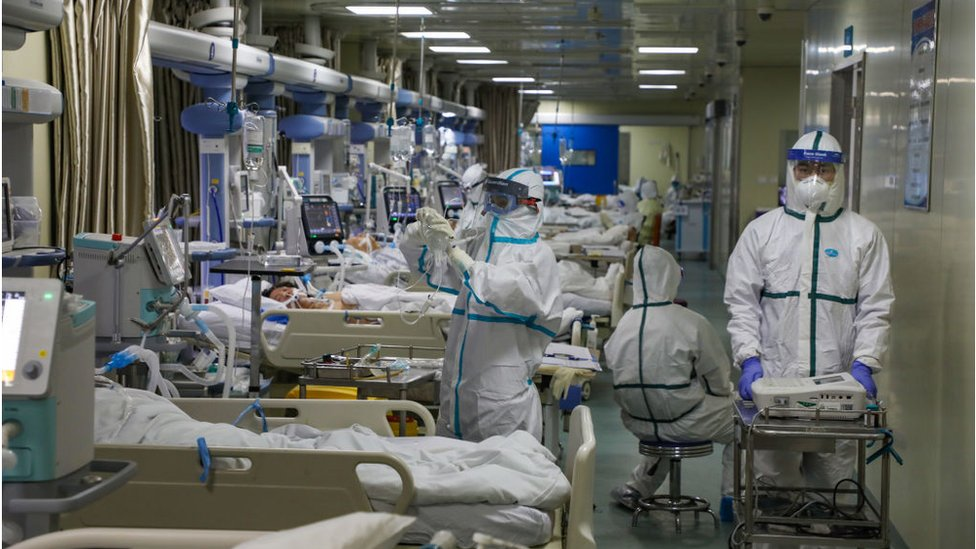 FEBRUARY 06 2020: Medical staff work in the isolated intensive care unit in a hospital in Wuhan