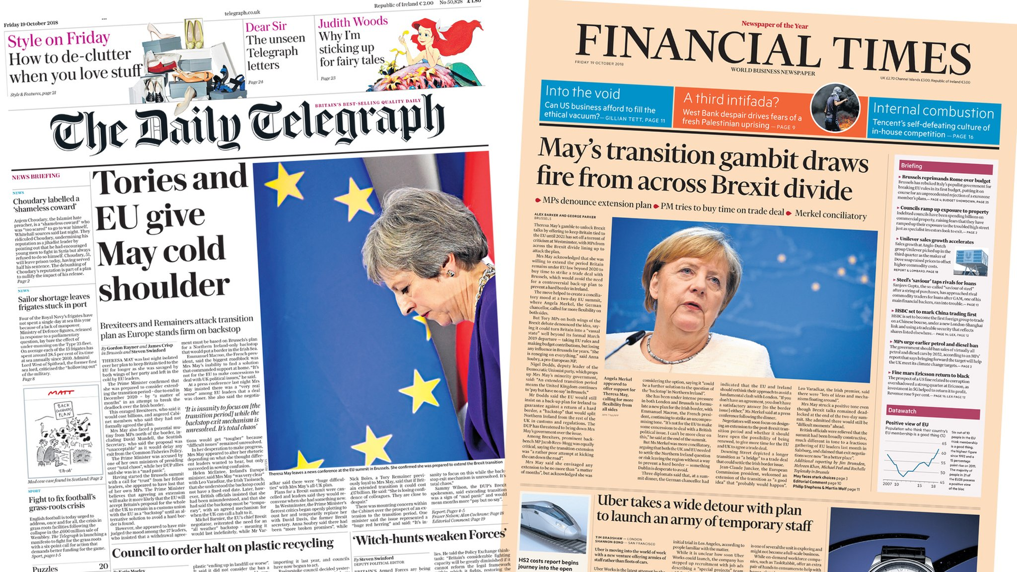 The Papers: Cold shoulder for May's transition gambit
