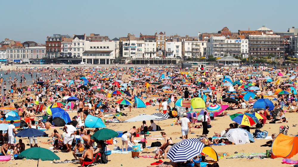 Crowded UK beach